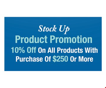 10% off on all products with purchase of $259 or more