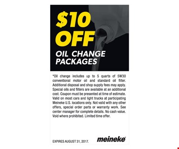 $10 off oil change package