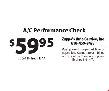 A/C Performance Check $59.95 up to 1 lb. freon. Must present coupon at time of inspection. Cannot be combined with any other offers or coupons. Expires 8-11-17.