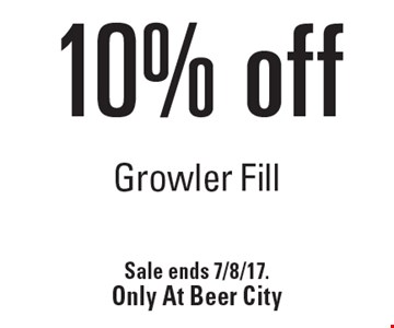 10% off Growler Fill. Sale ends 7/8/17. Only At Beer City