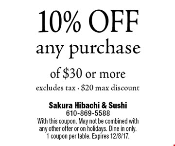 10% OFF any purchase of $30 or moreexcludes tax - $20 max discount. With this coupon. May not be combined with any other offer or on holidays. Dine in only.1 coupon per table. Expires 12/8/17.