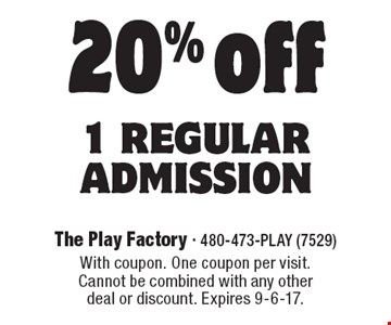 20% off 1 regular admission. With coupon. One coupon per visit.Cannot be combined with any other deal or discount. Expires 9-6-17.