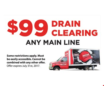 $99 Drain Clearing any Main Line