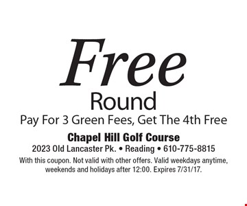 Free Round Pay For 3 Green Fees, Get The 4th Free. With this coupon. Not valid with other offers. Valid weekdays anytime,weekends and holidays after 12:00. Expires 7/31/17.