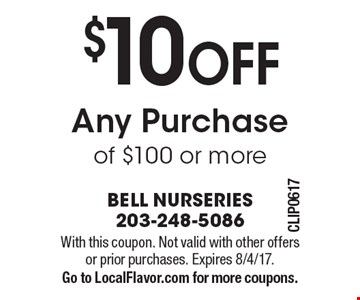 $10 OFF Any Purchase of $100 or more. With this coupon. Not valid with other offers or prior purchases. Expires 8/4/17.Go to LocalFlavor.com for more coupons.
