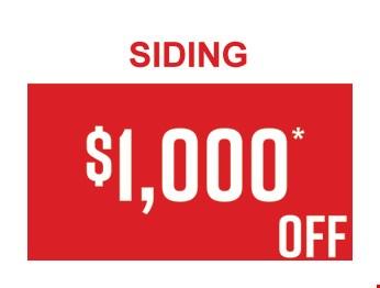 $1,000 OFF Siding