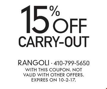 15% off carry-out. With this coupon. Not valid with other offers. Expires on 10-2-17.
