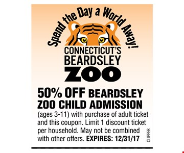 50% Off Beardsley zoo child admission with a purchase of adult ticket and this coupon limit 1 discount ticket per household