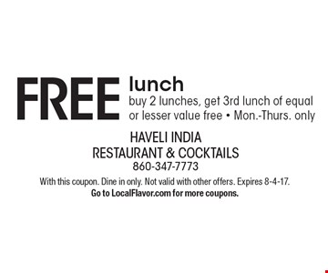 FREE lunch! buy 2 lunches, get 3rd lunch of equal or lesser value free - Mon.-Thurs. only. With this coupon. Dine in only. Not valid with other offers. Expires 8-4-17. Go to LocalFlavor.com for more coupons.