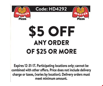 $5 OFF any order of $25 or more.