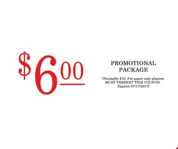$6.00 Promotional Package