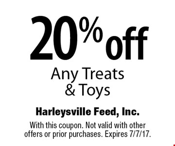 20% off Any Treats & Toys. With this coupon. Not valid with other offers or prior purchases. Expires 7/7/17.
