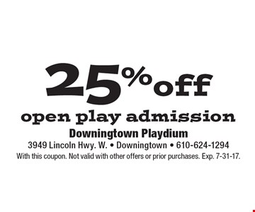 25% off open play admission. With this coupon. Not valid with other offers or prior purchases. Exp. 7-31-17.