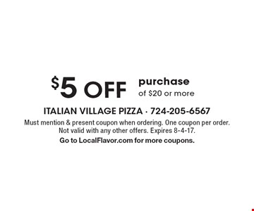 $5 off purchase of $20 or more. Must mention & present coupon when ordering. One coupon per order. Not valid with any other offers. Expires  8-4-17. Go to LocalFlavor.com for more coupons.