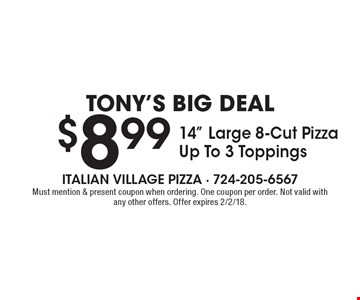 Tony's Big Deal. $8.99 14