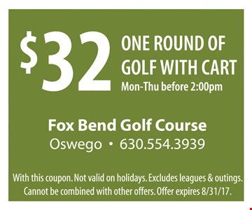$32 One Round of Golf with Cart