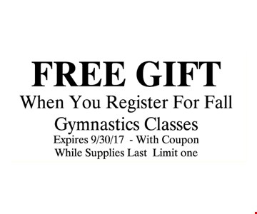 Free gift when you register for Fall gymnastics classes