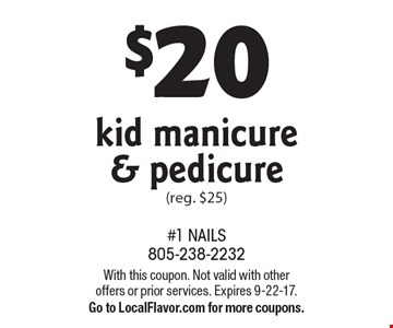$20 kid manicure & pedicure (reg. $25). With this coupon. Not valid with other offers or prior services. Expires 9-22-17. Go to LocalFlavor.com for more coupons.