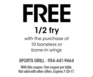 FREE 1/2 fry with the purchase of 10 boneless or bone-in wings. With this coupon. One coupon per table. Not valid with other offers. Expires 7-28-17.