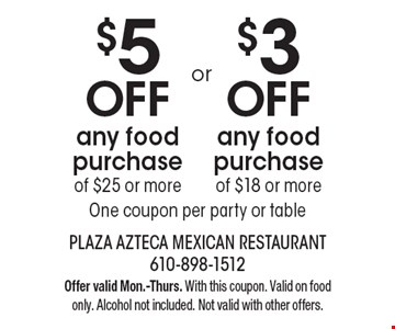 $5 off any food purchase of $25 or more OR $3 off any food purchase of $18 or more. One coupon per party or table. Offer valid Mon.-Thurs. With this coupon. Valid on food only. Alcohol not included. Not valid with other offers.