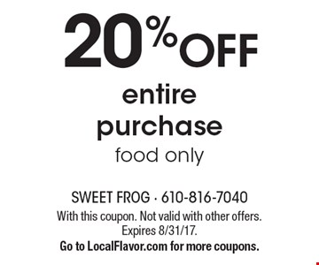 20% OFF entire purchase food only. With this coupon. Not valid with other offers. Expires 8/31/17.Go to LocalFlavor.com for more coupons.