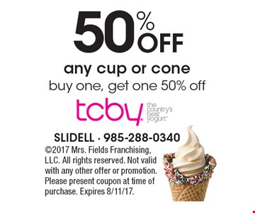 50% off any cup or cone. Buy one, get one 50% off. 2017 Mrs. Fields Franchising, LLC. All rights reserved. Not valid with any other offer or promotion. Please present coupon at time of purchase. Expires 8/11/17.