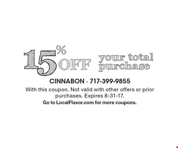 15% Off your total purchase. With this coupon. Not valid with other offers or prior purchases. Expires 8-31-17. Go to LocalFlavor.com for more coupons.