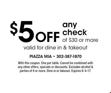 $5 off any check of $30 or more. Valid for dine in & takeout. With this coupon. One per table. Cannot be combined with any other offers, specials or discounts. Excludes alcohol & parties of 8 or more. Dine in or takeout. Expires 8-4-17.