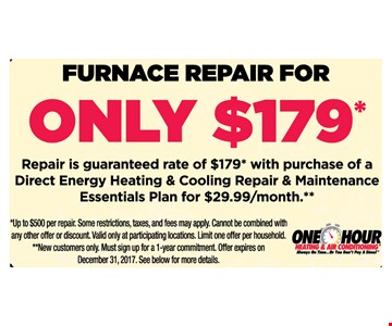Furnace repair only $179