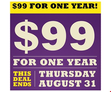 $99 For One Year