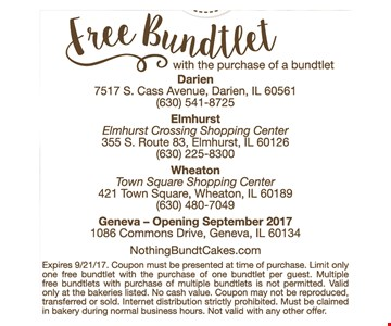 Free bundlet with purchase of a bundlet