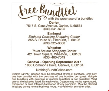 Free bundtlet with the purchase of a bundtlet