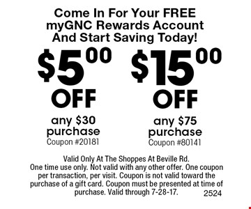 Come In For Your FREE myGNC Rewards Account And Start Saving Today! $15.00 Off any $75 purchase (Coupon #80141) OR $5.00 Off any $30 purchase (Coupon #20181). Valid Only At The Shoppes At Beville Rd.One time use only. Not valid with any other offer. One coupon per transaction, per visit. Coupon is not valid toward the purchase of a gift card. Coupon must be presented at time of purchase. Valid through 7-28-17.