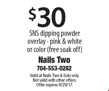 $30 SNS dipping powder overlay - pink & white