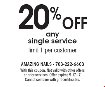 20% off any single service. Limit 1 per customer. With this coupon. Not valid with other offers or prior services. Offer expires 9-17-17. Cannot combine with gift certificates.