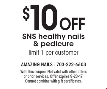 $10 off SNS healthy nails & pedicure. Limit 1 per customer. With this coupon. Not valid with other offers or prior services. Offer expires 9-23-17. Cannot combine with gift certificates.