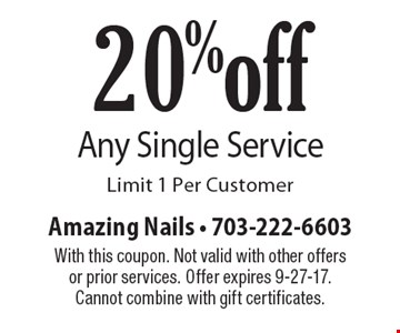 20% off Any Single Service. Limit 1 Per Customer. With this coupon. Not valid with other offers or prior services. Offer expires 9-27-17. Cannot combine with gift certificates.