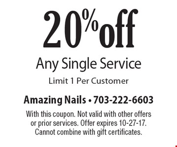20% off Any Single Service. Limit 1 Per Customer. With this coupon. Not valid with other offers or prior services. Offer expires 10-27-17. Cannot combine with gift certificates.