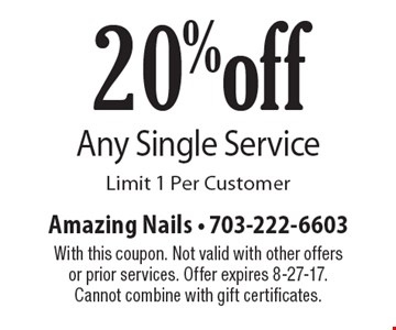 20% off Any Single Service. Limit 1 Per Customer. With this coupon. Not valid with other offers or prior services. Offer expires 8-27-17. Cannot combine with gift certificates.