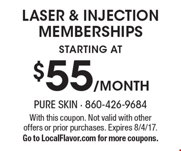 Laser & Injection memberships Starting At $55 /Month. With this coupon. Not valid with other offers or prior purchases. Expires 8/4/17. Go to LocalFlavor.com for more coupons.