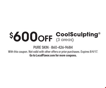 $600 Off CoolSculpting (3 areas). With this coupon. Not valid with other offers or prior purchases. Expires 8/4/17. Go to LocalFlavor.com for more coupons.