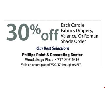 30% Off Each Carole Fabrics Drapery, Valance, Or Roman Shade Order