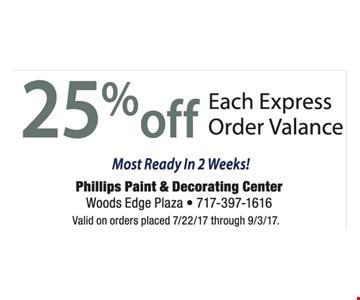 25% Off Each Express Order Valance