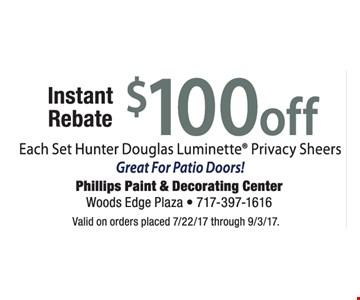 Instant Rebate $100 Off Each Set Hunter Douglas Luminette Privacy Sheers
