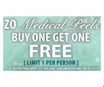 Zo Medical Peels Buy one Get one FREE ( limit 1 per person )