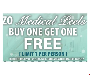 ZO medical peels, buy one get one free - limit 1 per person