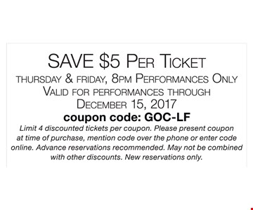 Save $5 Per Ticket