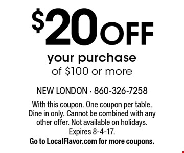 $20 OFF your purchase of $100 or more. With this coupon. One coupon per table. Dine in only. Cannot be combined with any other offer. Not available on holidays. Expires 8-4-17. Go to LocalFlavor.com for more coupons.