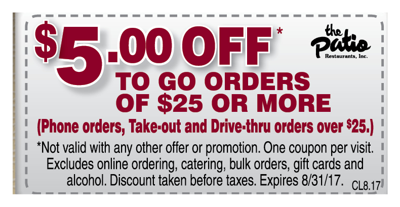 THE PATIO BBQ: $5 OFF To Go Orders Of $25 Or More