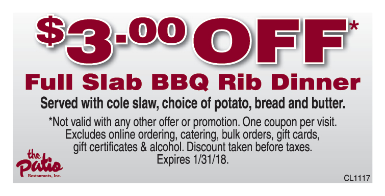 THE PATIO BBQ: $3 Off Full Slab BBQ Dinner